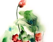 Abstract Flowers Watercolor Painting Art Print, Abstract Nature Pink Green Floral Wall Art, Modern Art, Watercolour Art