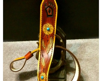 Leather Gun sling with Dreamcatcher, Turquoise Rivets and Your Custom Initials - Handmade Tooled - Cobra Padded Suede Leather Rifle Sling