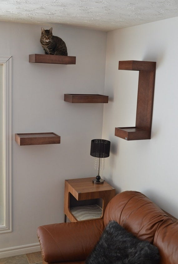 cat wall shelf cat wall perch package of three by huve. Black Bedroom Furniture Sets. Home Design Ideas