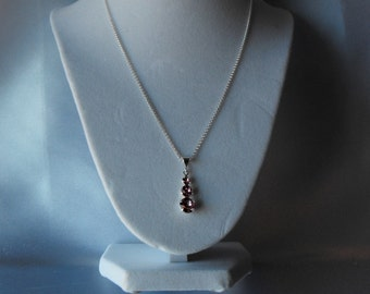 Sterling Silver Necklace with a Swarovski Three Stone Pendant (BD-890)