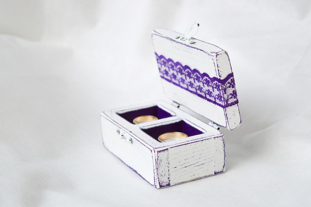 wedding ring box ring bearer box purple wedding ring holder