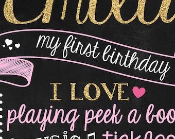 Glitter 1st Birthday Poster - First Birthday Photo Prop - 1st Birthday Stats - Pink Glitter Birthday Prop - First Year Milestones