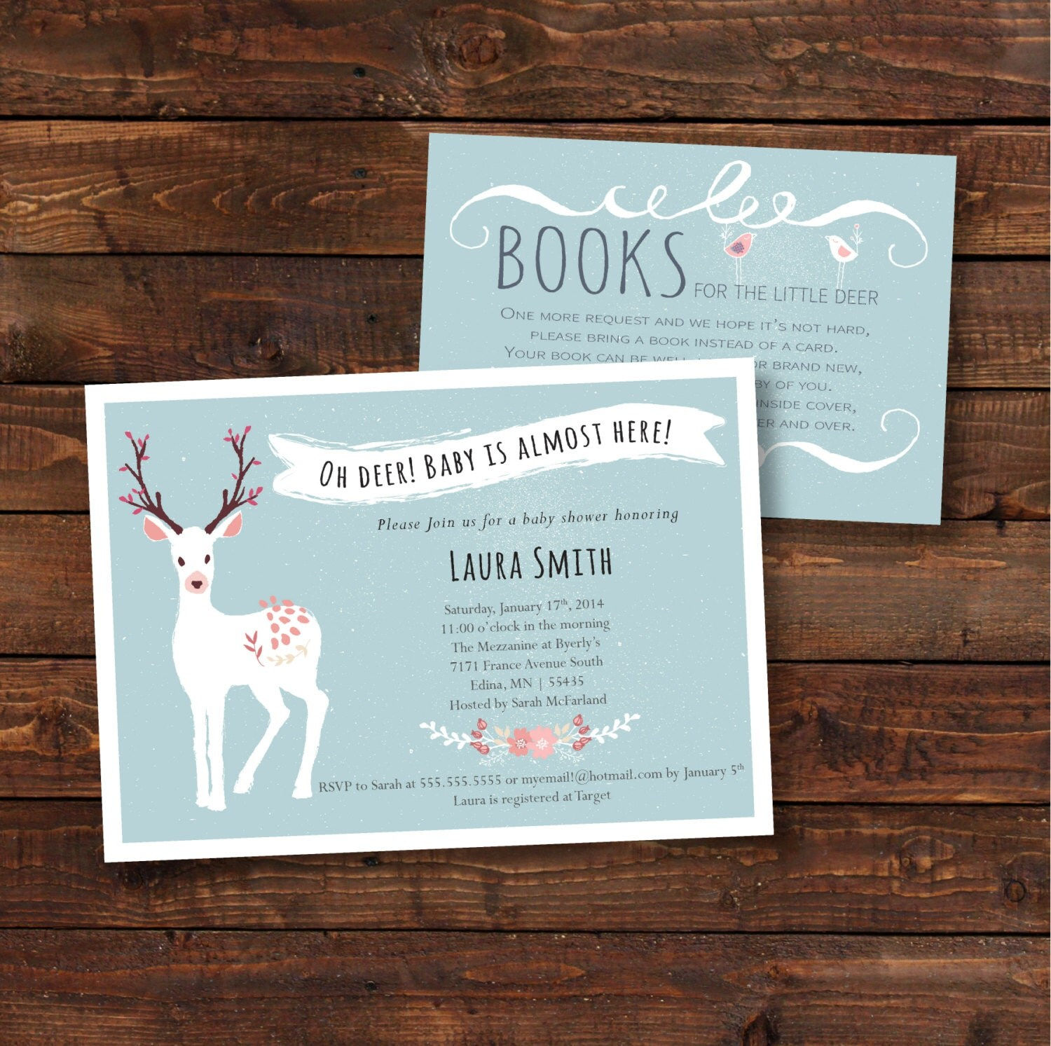 oh deer baby shower invitation enclosure by hewittavenue on etsy