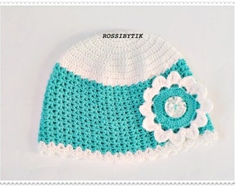 Baby girl hat, Turquoise girls hat, crochet baby hat, baby hat, baby girl's hat, little girls hat, childrens hat, baby accessoaries