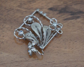Vintage  Jewelry Brooch Pin  Sterling Silver 925  CZ Rhinestones  Signed E-081