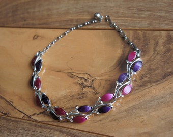 Vintage Jewelry Necklace Silver Violet Pink Chain  Leaf  E-127