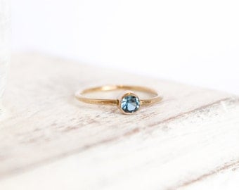 Blue Zircon Ring - December Birthstone Ring - 14k Gold Fill or Sterling Silver - Simple Stacking Ring - Zircon Jewelry - Blue Ring Gemstone