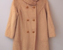 Vintage Pea Coat - Wool 50s Mohair - Small Medium 6 8 - Brown - SALE