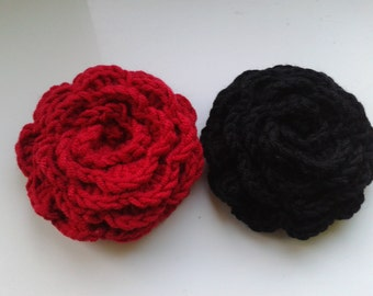 Handmade crochet set of 2 red and black rose brooch crochet jewellery crochet pin.
