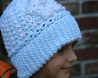 Knitted frozen hat. Knitted Elsa hat. Knit Elsa hat. Knit frozen hat. White knitted hat. Knitted girl hat. Winter hat.  For age 5 - adult