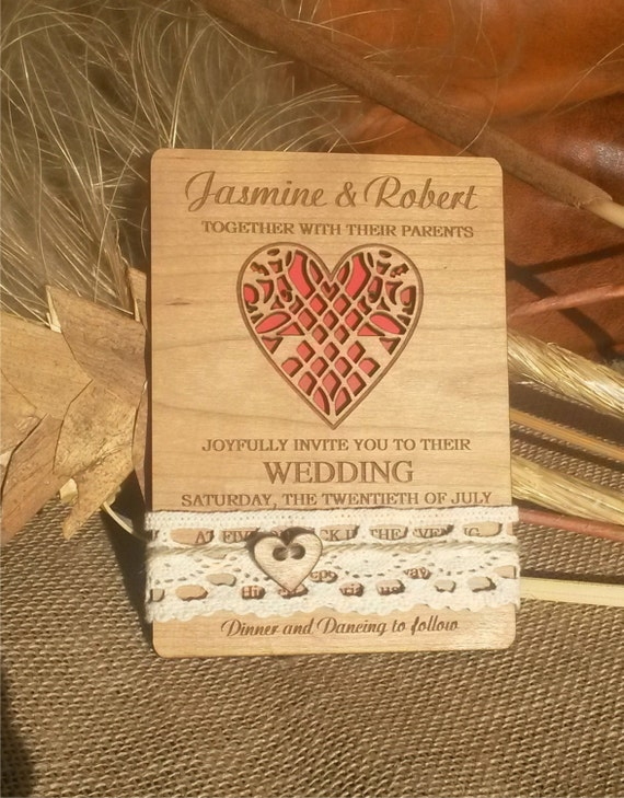 Rustic wedding invitation /  white lace wedding invitation / engraved wood Wedding invitations / Unique vintage wedding invitation / heart
