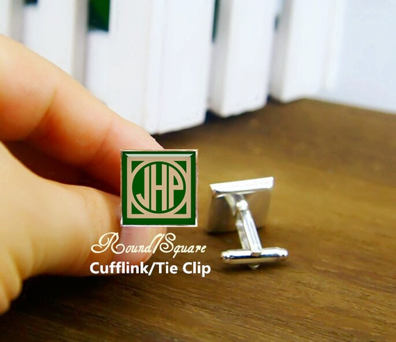 custom initial cufflinks, custom 2-3 letter round or square cufflinks & tie clip, art monogram cuff links, 1920s film style, emerald green