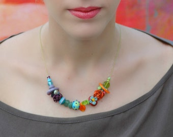 Colorful Beaded Necklace, Minimalist Necklace, Lampwork Necklace, Girls Necklace, Glass beads Necklace, Handmade Necklace combined metal