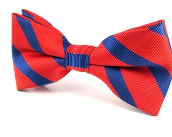 Mens Red with Blue Stripe Bow Tie. Pre-Tied Bow Tie. Red Bow Tie. Men Tuxedo Bowtie. Formal Bow Tie. Pre-Tied Bow Tie Necktie. Tuxedo Tie