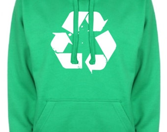 Recycle Recycling Mens Womens Hoodie Vintage Retro Nerd Geek Save the Earth  NEW