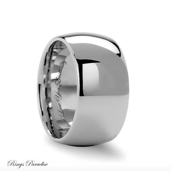 tungsten wedding band 12mm domed white tungsten ring mens