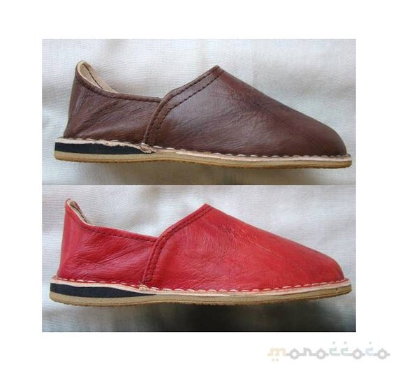 shoes slippers moroccan leather with thick soles unisex