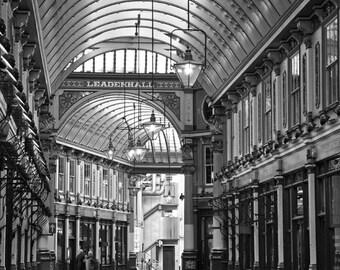 London Photography, Leadenhall Market, Black and White, Architecture, Travel Photo, Fine Art Print, Home Decor, London Decor