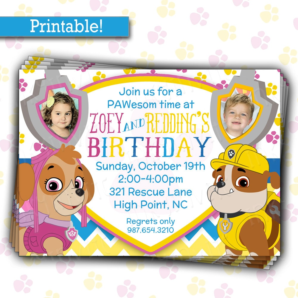 pup patrol birthday party invitation twins or siblings joint, invitation samples
