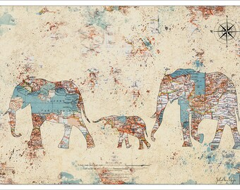 Elephant Print. Elephants Splatter Map, Map Art, Vintage Map, Watercolor Map, Map Prints, World Map Poster, Elephants 2 c3