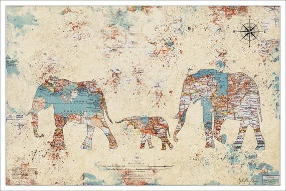 Elephant Print Elephants Splatter Map Map Art Vintage Map