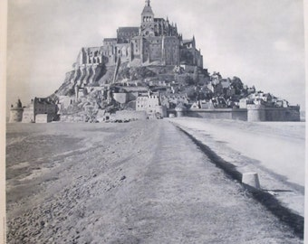 1950s Vintage French Travel Poster, Black and White Photography, Mont Saint-Michel - Roubien