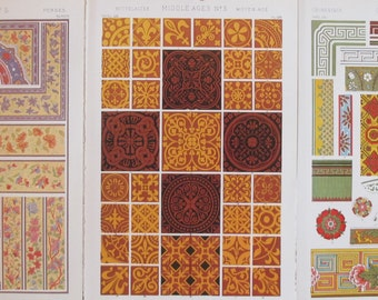 Set of 3: The Grammar of Ornament by Owen Jones, 1910 - Persian, Medieval, Chinese