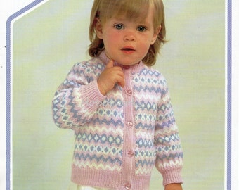 Baby Knitting Pattern baby cardigan fair isle cardigan button through- 18 to 22 inches 3 Ply - baby knitting patterns PDF instant download