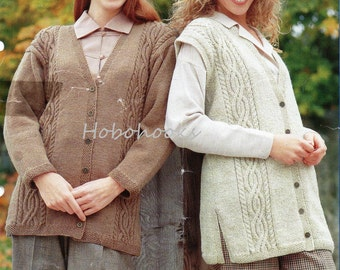 Womens Knitting Pattern Ladies Long Cable Cardigan & Waistcoat 28-48 inches larger sizes DK Ladies Knitting Pattern PDF instant download