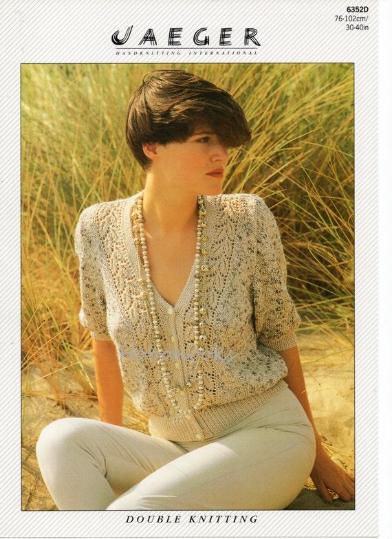 Knitting Pattern Ladies Lacy Cardigan : Womens lace panel cardigan Knitting Pattern v neck short