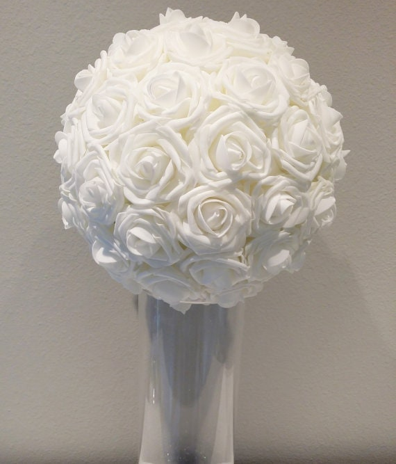 White wedding foam flower ball choose rose by kimeekouture