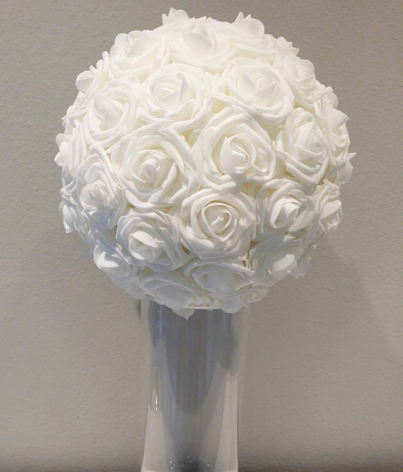 White Rose Ball Centerpiece : White wedding foam flower ball choose rose by kimeekouture