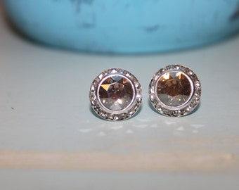 Crystal Golden Shadow Post Earrings 13mm Chaton