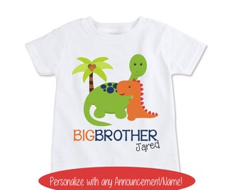 Big Brother Shirt Pregnancy Shirt Pregnancy Reveal to Grandparents, Personalized Kids T Rex Shirt Dinosaur Shirt Birth Announcement (EX 296)