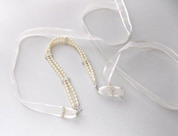 wedding headband bridal headband ribbon headband pearl head piece