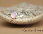 Rose Cut Lavender Quartz Stacking Ring - Lavender Stack Ring - Sterling Stacking Ring - Delicate Rose Cut Lavender Ring - Stackable Ring