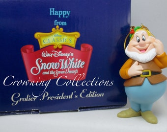 Grolier Disney Happy President's Edition Ornament Snow White and the Seven Dwarfs 7 Dwarves Christmas Vintage Holly