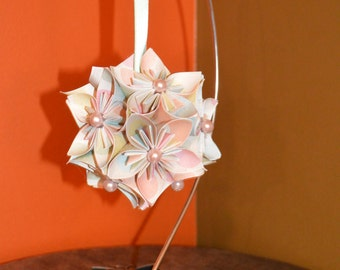 "Handmade ""Pastel Polka Dots"" Kusudama Flower Ornament"