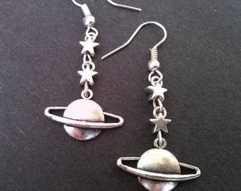 Silver Star Planet Earrings Star Earrings Saturn Earrings Celestial Earrings Space Earrings Alien Earrings Gift