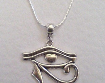 """Eye Of Horus Necklace , Eye Of Ra Necklace , 28"""" Snake Chain Necklace , Silver Necklace , Handmade Jewelry , Egyptian Revival , Egypt Wadjet"""