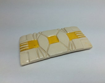 Patterned Yellow Resting Dish