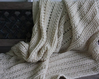 Full sized Cream Thanksgiving Afghan