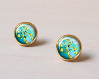 Bubble Tree, Fruit, turquoise, branches, silver Earring stud, Earring clip