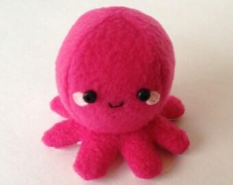 Adorable Fleece Mini-Octopus Plush - Dark Pink