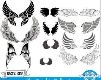 No.106 Wings clipart + vector - instant download - commercial and personal use