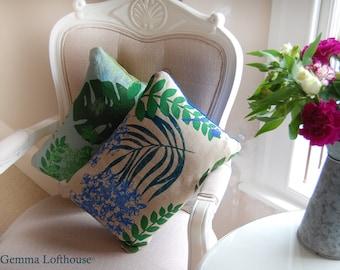 "Hydrangea Flower Screen-Printed Cushion - Greens/Blues on Natural Hessian/Silk 12""x16"""