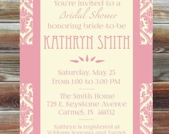 Personalized Elegant Bridal Shower Invitation - Patterned Bridal Shower Invitation - Custom Bridal Shower Invite - Pink Cream Bridal Shower