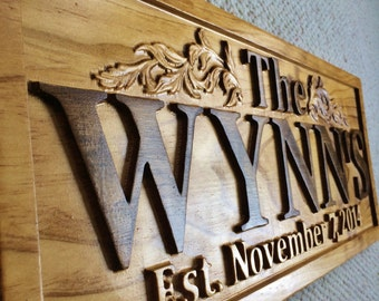 Personalized Family Name Signs Wedding Gift Last Name Established Sign Custom Wood Sign Carved Wood Sign Lake House Couples Anniversary Gift
