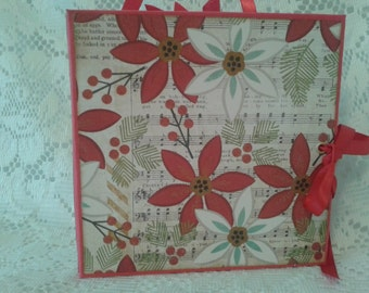 Mini Christmas Photo Album, 6.5 x 6.5 Scrapbook Christmas Album 3, Handmade Christmas Scrapbook Photo Album