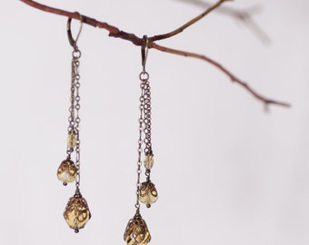 Pale Yellow three tiered antiqued brass dangle earrings